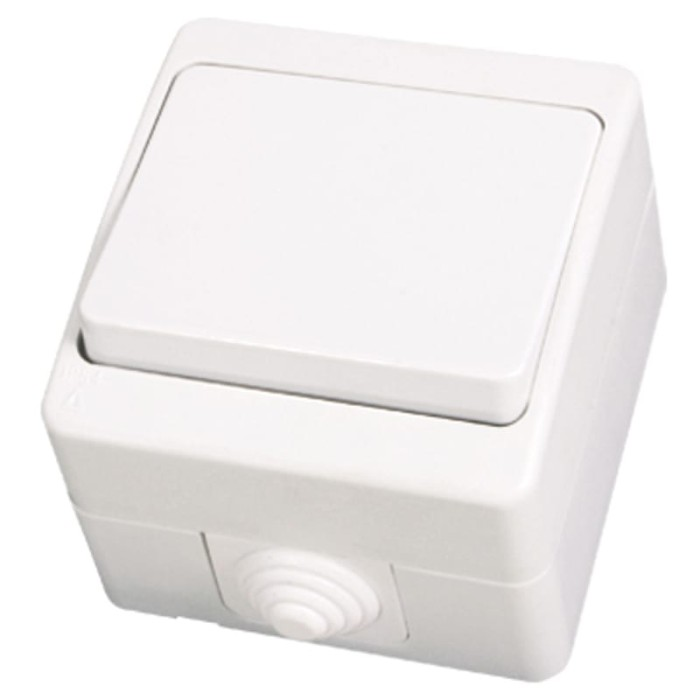 Διακόπτης εξωτερικός επίτοιχος απλός IP54 - Λευκό Διακόπτες Καλωδίων Onetrade